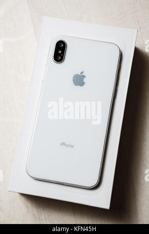 MARIUPOL,UKRAINE-30 OCTOBER,2017: New Iphone X smart phone in close up.Latest Apple Iphone 10 mobile phone model.Illustrative - Stock Photo