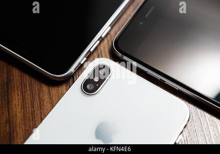 MARIUPOL,UKRAINE-30 OCTOBER,2017: New Iphone X smart phone in close up.Latest Apple Iphone 10 mobile phone model.Illustrative - Stock Photo