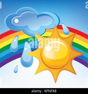 Sun, cloud, rain and rainbow - Stock Photo