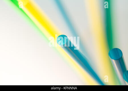 Macro of Drinking straws top view, isolated on white - Stock Photo