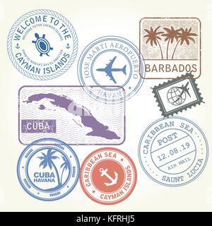 Travel stamps set Caribbean Sea theme - Stock Photo
