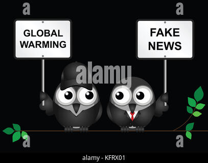 Protestor demonstrating against global warming and a fake news denialist - Stock Photo