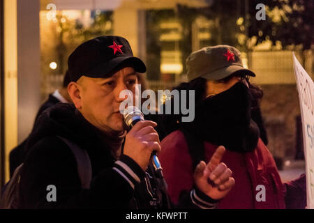 October 31, 2017 - London, UK. 31st October 2017. United Voices of the World trade union members march away from - Stock Photo