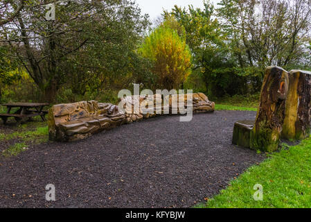 Castle Semple, Lochwinnoch, Scotland-October 28, 2017: Nature Trail at Castle Semple that contains many items like - Stock Photo