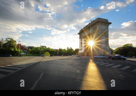 Arcul de Triumf Arch of Triumph Bucharest Romania - Stock Photo
