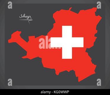 Schwyz map of Switzerland with Swiss national flag illustration - Stock Photo