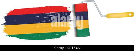 Brush Stroke With Mauritius National Flag Isolated On A White Background. Vector Illustration. - Stock Photo
