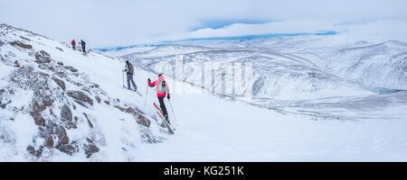 Ski touring at CairnGorm Mountain Ski Resort, Aviemore, Cairngorms National Park, Scotland, United Kingdom, Europe - Stock Photo