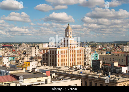 Architecture from an elevated view near the Malecon, Havana, Cuba, West Indies, Central America - Stock Photo