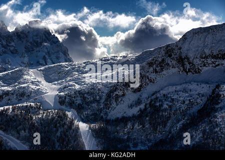 ski resort landscape with good winter weather - Stock Photo