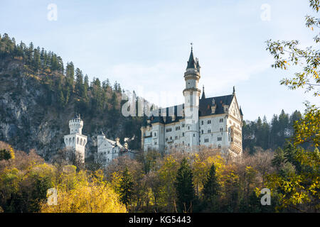 Beautiful view of world-famous Neuschwanstein Castle - Stock Photo