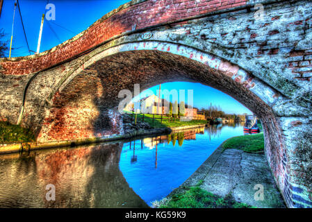 Cheshire, England.  Artistic view of Bates Mill Bridge (number 109) on the Shropshire Union Canal at Bates Mill - Stock Photo