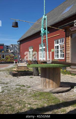 Aarhus, culture and studio area on the old freight depot area / Godsbanen - Stock Photo