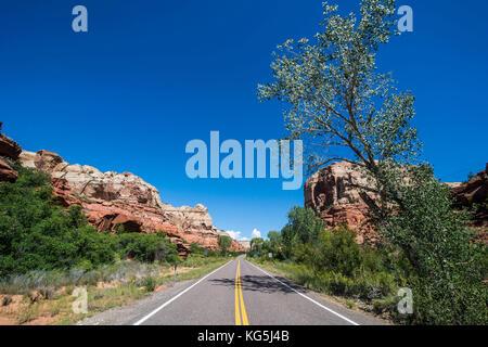 Road leading through the Grand Staircase Escalante National Monument, Utah, USA - Stock Photo