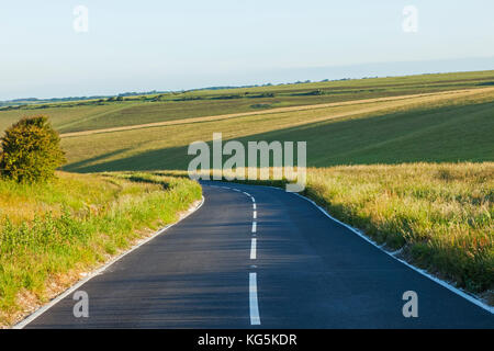 England, East Sussex, Eastbourne, South Downs National Park, Empty Road - Stock Photo