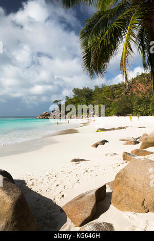The Seychelles, Praslin, Anse Georgette, beach with access from Constance Lemuria Resort estate - Stock Photo