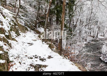 Selketal Wanderweg im Winter - Stock Photo
