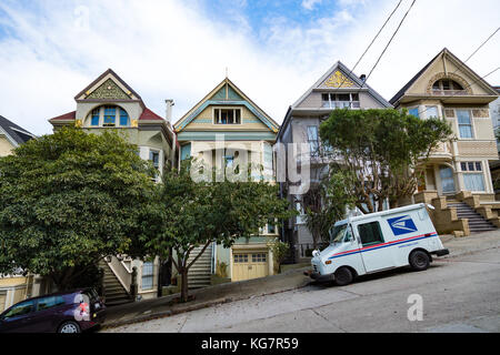 Row of Victorian Houses on Lyon Street (including the former home of Janis Joplin, San Francisco, CA.) - Stock Photo