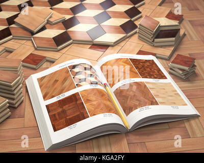 Few types of wooden parquet coating and catalog. Stack ofr parquet wooden planks. 3d illustration - Stock Photo