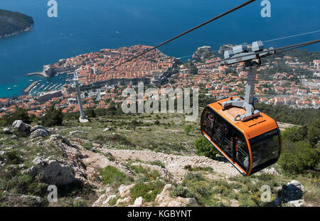 Looking down to Dubrovnik from the summit of Mount Srd, Croatia, Europe - Stock Photo