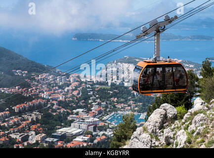 Looking down to Dubrovnik's new harbour from the summit of Mount Srd, Croatia, Europe - Stock Photo