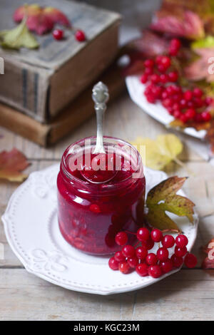 Berries of red viburnum with sugar and honey in a glass jar on a background with books, berries and leaves. - Stock Photo