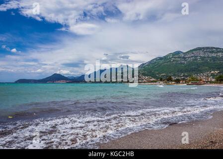 Topolica beach in Bar coastal town in southern Montenegro - Stock Photo