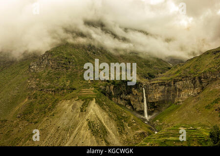 Sissu is a small town in the Lahaul valley of Himachal Pradesh in India. It is around 90 km from Manali and located - Stock Photo