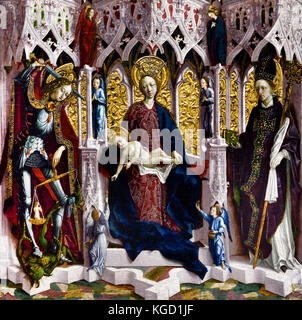 The Virgin and Child Enthroned with Angels and Saints  1475, by Michael Pacher ( Saint Michael weighs human souls - Stock Photo