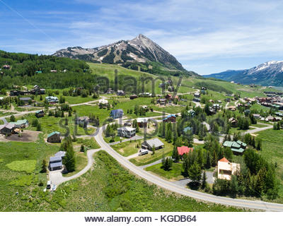 The Rocky Mountain ski village of Mount Crested Butte, Colorado on a summer day. - Stock Photo