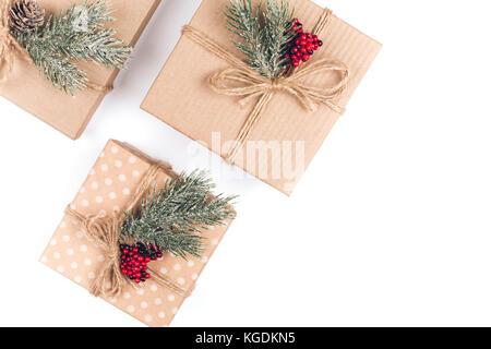 Three vintage Christmas gift boxes - Stock Photo
