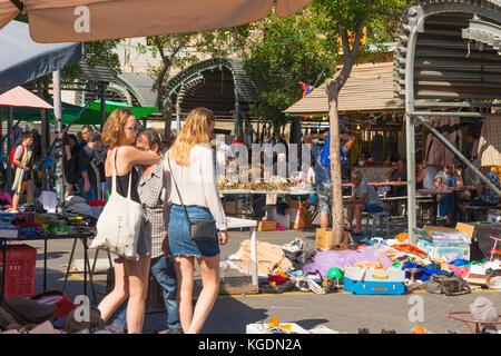 Israel The Holy Land Tel Aviv Jaffa Yofa flea market stalls display oddments white elephants junk stall street scene - Stock Photo