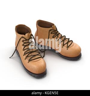 Hiking boots isolated on white background 3D Illustration - Stock Photo