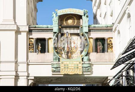 Historic musical clock called Ankeruhr at Hoher Markt street in Vienna, built 1915 by Franz Morawetz. - Stock Photo
