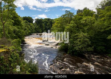 Aysgarth Upper Falls; River Ure; Yorkshire; UK - Stock Photo