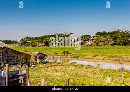 A typical Burmese village in the Yangon Region, Myanmar - Stock Photo