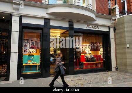 PRADA designer fashion store on Sloane street, London, England - Stock Photo