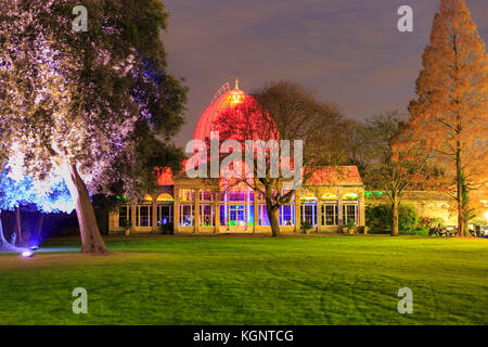 Syon Park, London, UK. 10th Nov, 2017. The illuminated Great Conservatory at Syon Park. A trail leads visitors through - Stock Photo