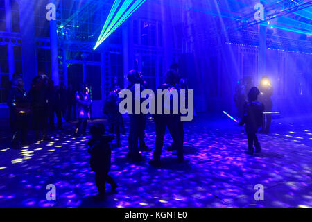 Syon Park, London, UK. 10th Nov, 2017. Visitors enjoy the laser show at the Syon Park Great Conservatory. A trail - Stock Photo