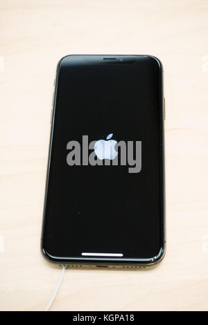 Apple logo displayed on a new iPhone X - Stock Photo