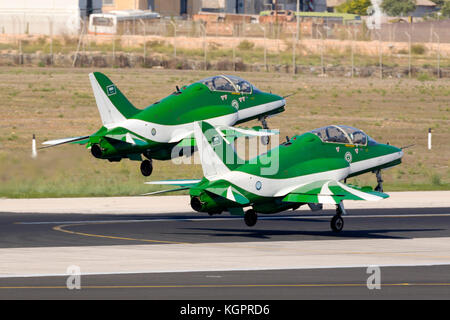 Saudi Air Force British Aerospace Hawk 65A of the Saudi Hawks display team departing after participating in the - Stock Photo