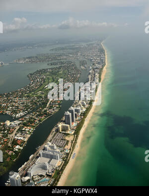 Aerial view of coastline beaches in South Florida near Miami - Stock Photo