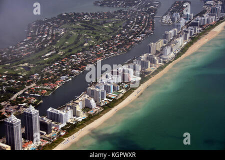 South Florida coastline and beach seen from high altitude - Stock Photo