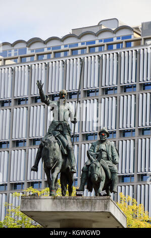 Statues of Don Quixote and Sancho Panza located at Place d'Espagne (Spanish Square) near Grand Place in the center - Stock Photo