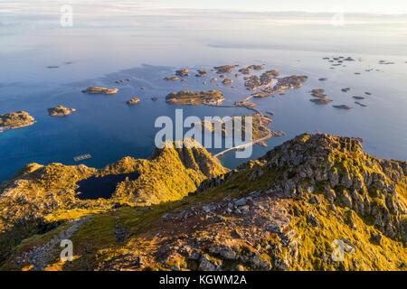 Top of mount Festvagtinden on Lofoten islands in Norway - Stock Photo