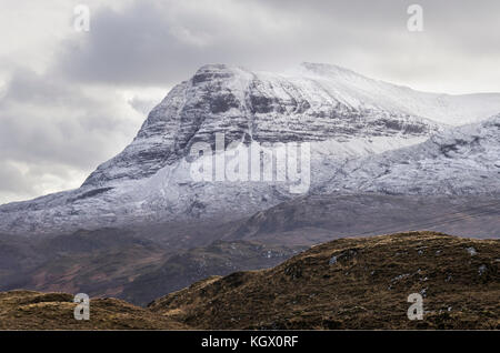 Quinag mountain with Sail Gharbh peak in winter with snow in Assynt, Sutherland, North West Highlands of Scotland - Stock Photo