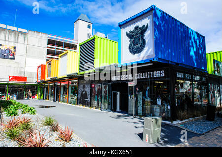 Rebuild center in containers of Christchurch, South Island, New Zealand - Stock Photo