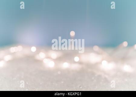 Christmas Background Snow lights - Stock Photo