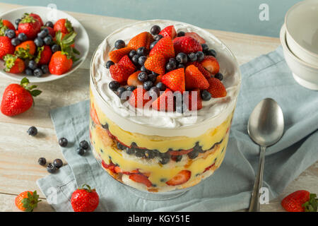 Sweet Homemade Strawberry Trifle Dessert with Custard and Cake - Stock Photo