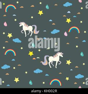 Seamless Unicorn Pattern with clouds, rainbows and drops of rain. Vector Illustration. - Stock Photo
